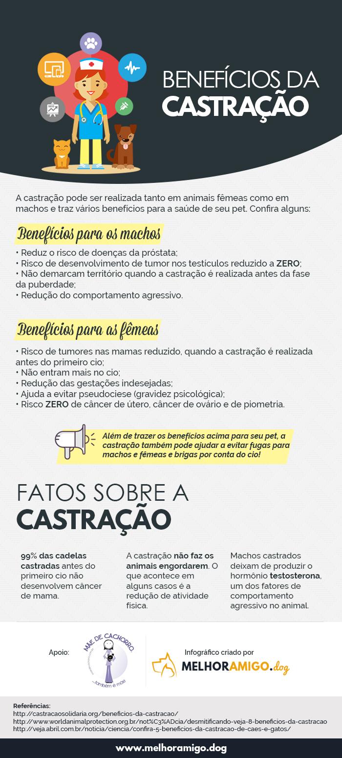 Infográfico com os benefícios da castração
